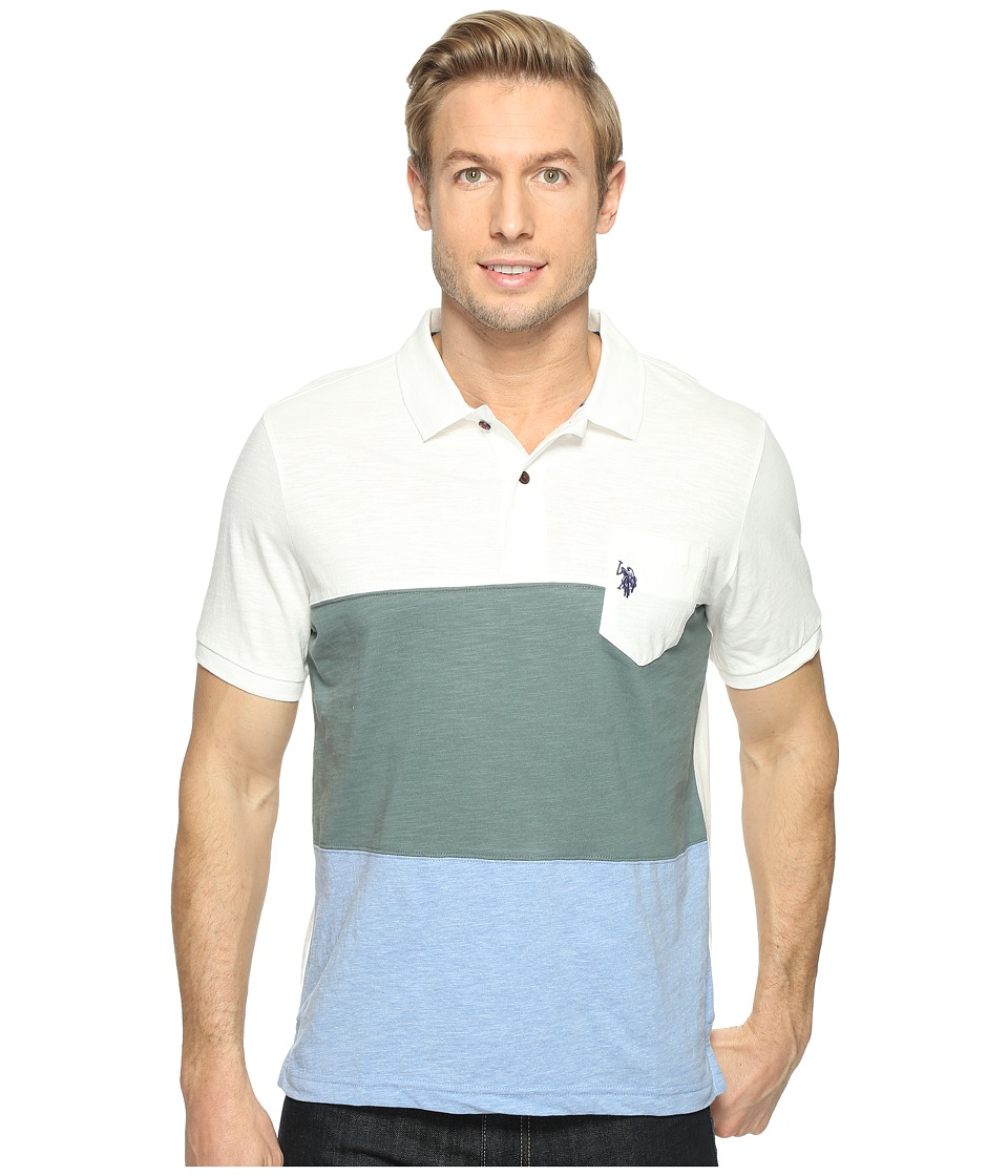 U.S. POLO ASSN. - Striped Short Sleeve Classic Fit Slub Polo Shirt (White Winter) Men's T Shirt