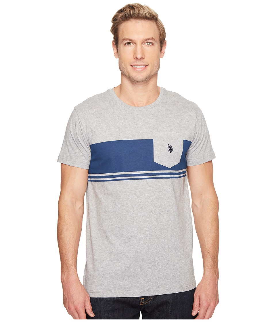 U.S. POLO ASSN. - Short Sleeve Solid Classic Fit Pocket T-Shirt (Light Heather Gray) Men's T Shirt