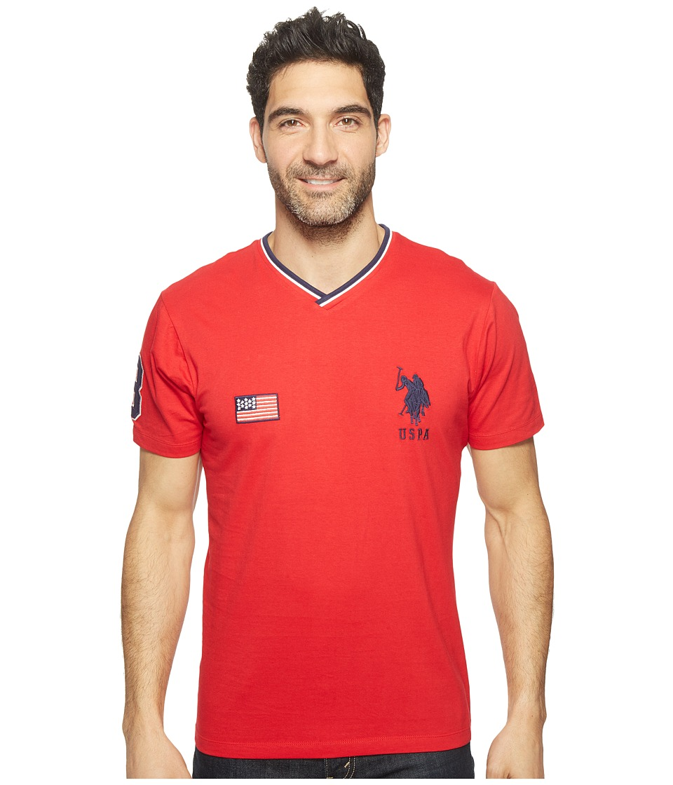 U.S. POLO ASSN. - Solid Short Sleeve V-Neck Classic Fit T-Shirt (Winning Red) Men's T Shirt