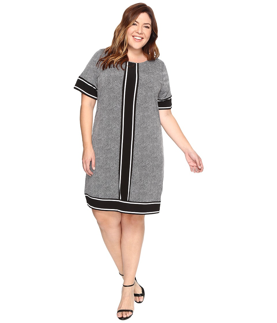 MICHAEL Michael Kors Plus Size Short Sleeve Stingray Border Dress (Black) Women