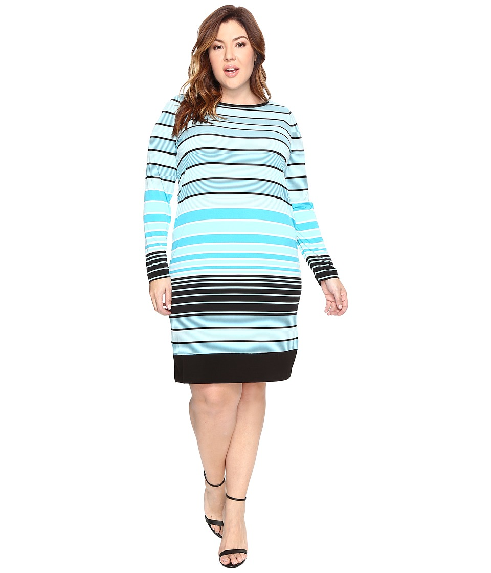 MICHAEL Michael Kors Plus Size Abbey Stripe Long Sleeve Border Dress (Dark Peacock) Women