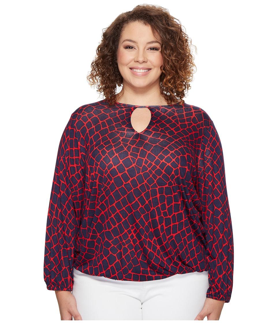MICHAEL Michael Kors - Plus Size Nyla Croc Peasant Top (True Red/True Navy) Women's Clothing