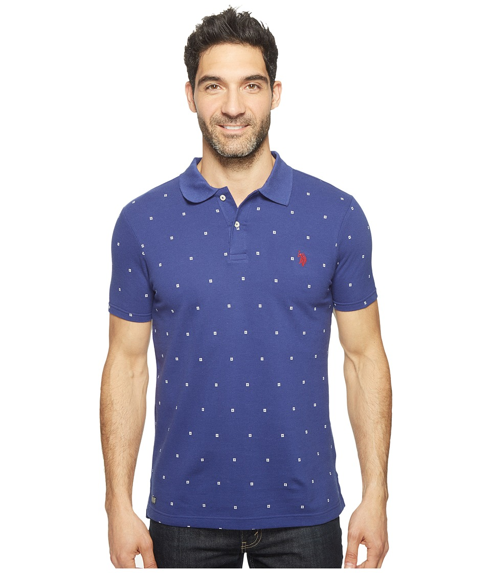 U.S. POLO ASSN. - Printed Short Sleeve Classic Fit Pique Polo Shirt (Marina Blue) Men's T Shirt