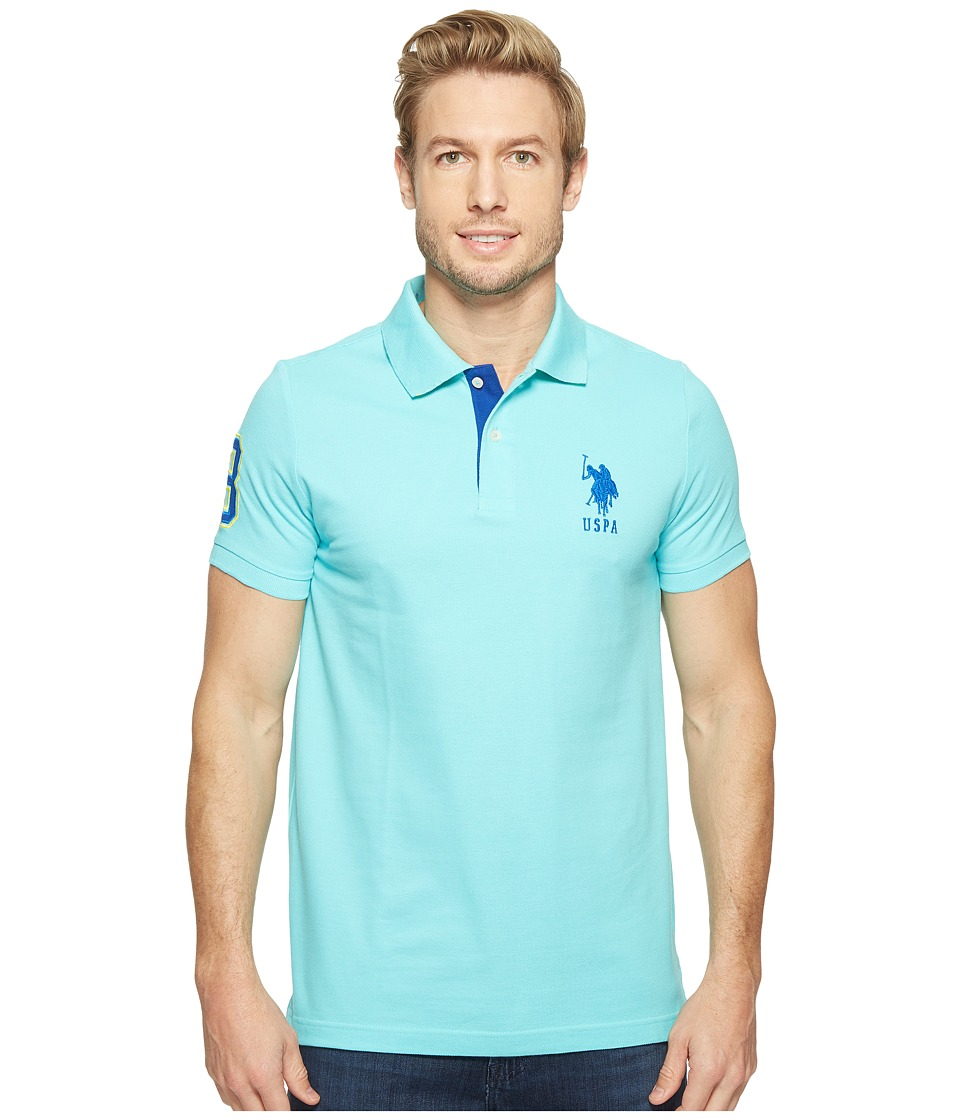 U.S. POLO ASSN. - Slim Fit Solid Polo w/ Contrast Striped Underside of Collar (Painters Aqua) Men's Short Sleeve Knit