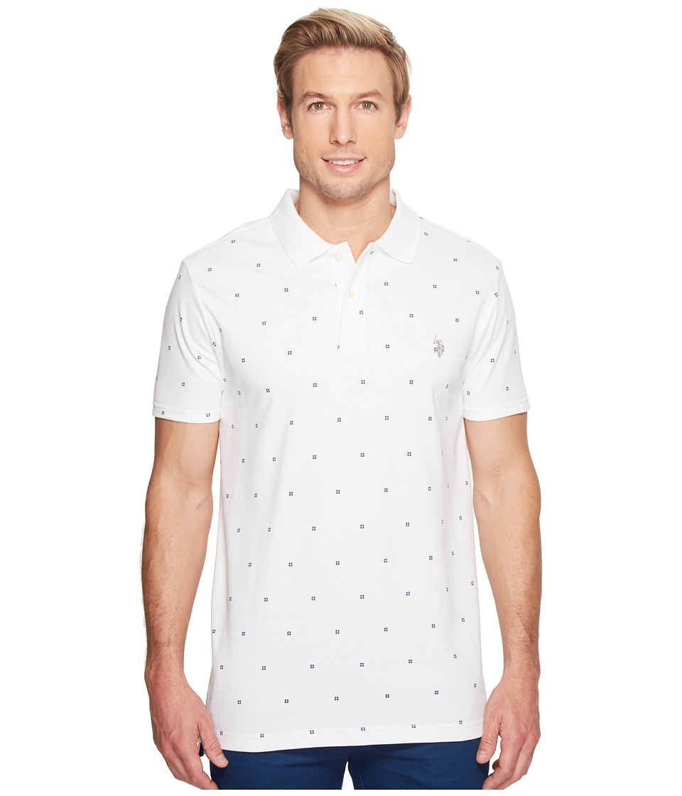 U.S. POLO ASSN. - Printed Short Sleeve Classic Fit Pique Polo Shirt (White) Men's T Shirt