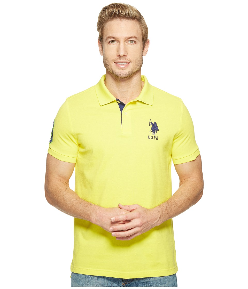 U.S. POLO ASSN. - Slim Fit Solid Polo w/ Contrast Striped Underside of Collar (Yellow Pop) Men's Short Sleeve Knit