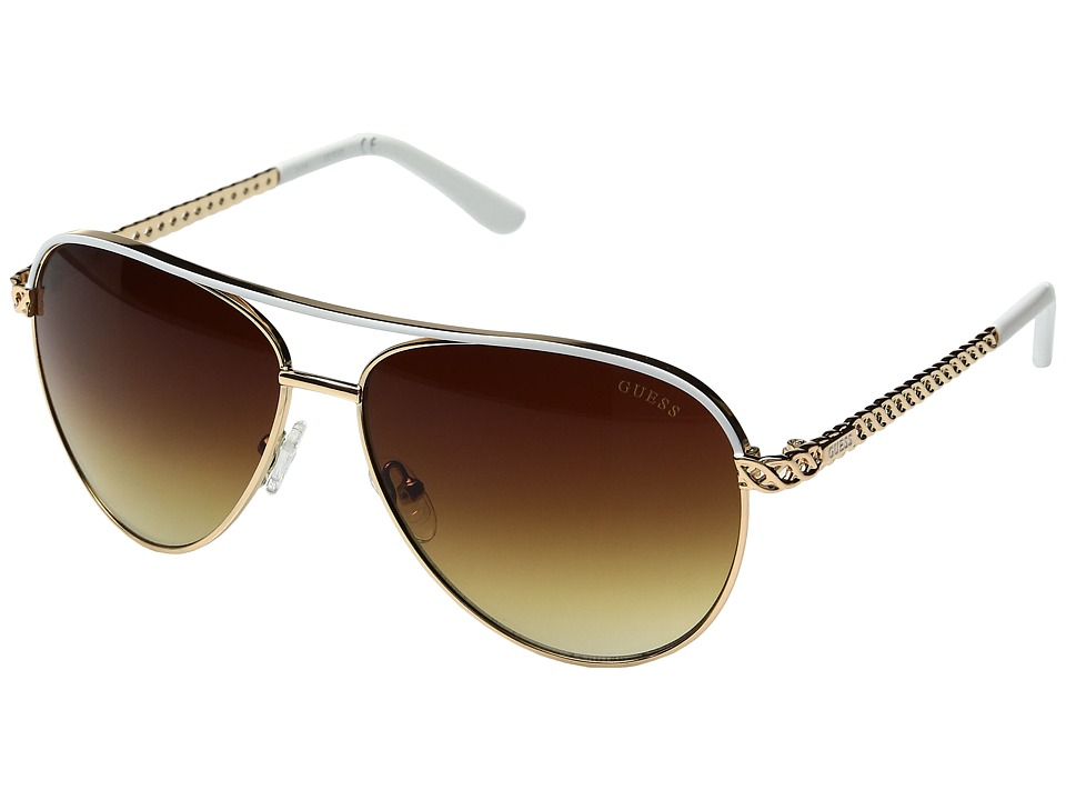 GUESS - GF0268 (Shiny Rose Gold/Gradient Brown) Fashion Sunglasses
