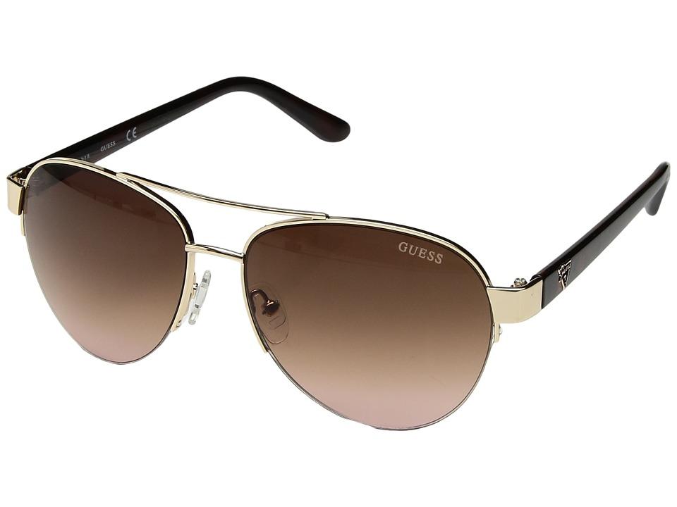 GUESS - GU0254F (Gold/Gradient Brown) Fashion Sunglasses