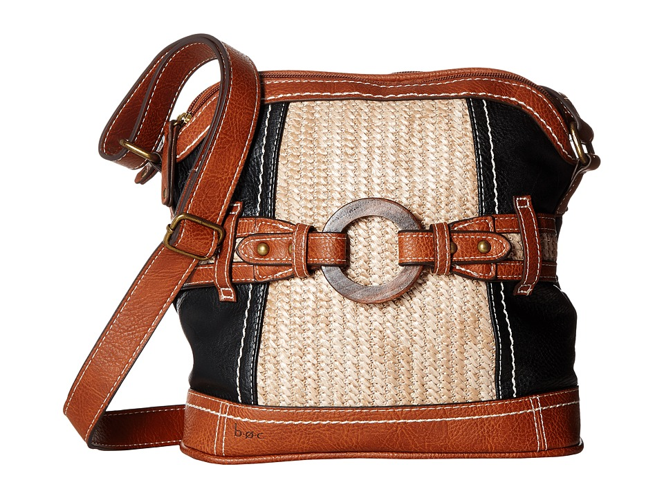 b.o.c. - Nayarit Vinyl/Straw Dome Crossbody (Black/Straw/Saddle) Cross Body Handbags