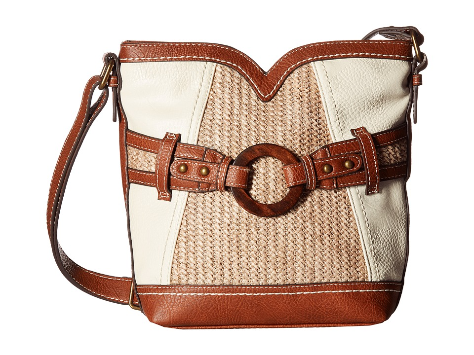 b.o.c. - Nayarit Vinyl/Straw Sweetheart Crossbody (Bone/Straw/Saddle) Cross Body Handbags