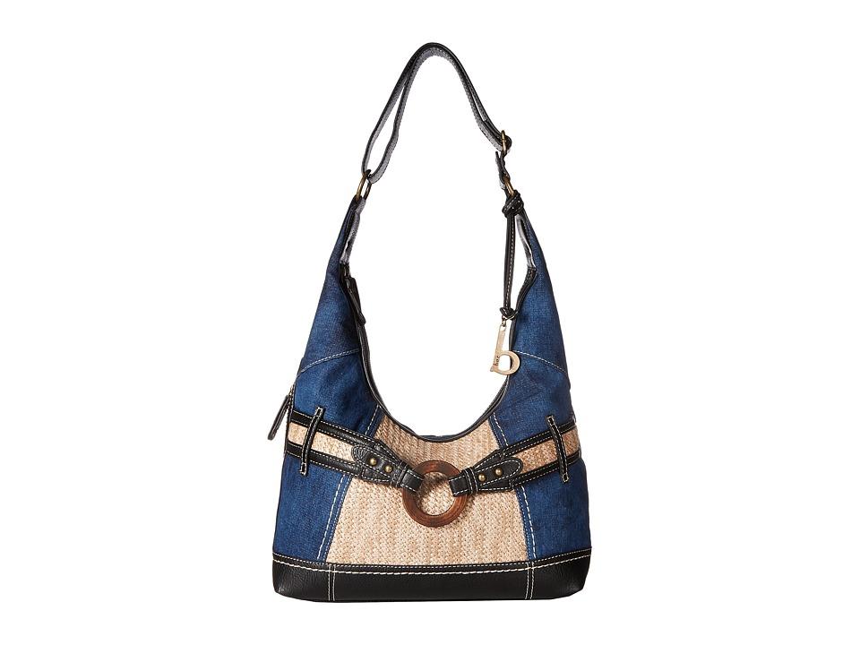b.o.c. - Nayarit Denim Tribal Hobo (Denim/Straw/Black) Hobo Handbags
