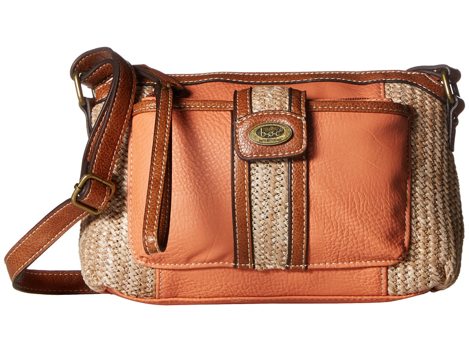 b.o.c. - Tylerville Merrimac Crossbody (Coral/Straw/Saddle) Cross Body Handbags