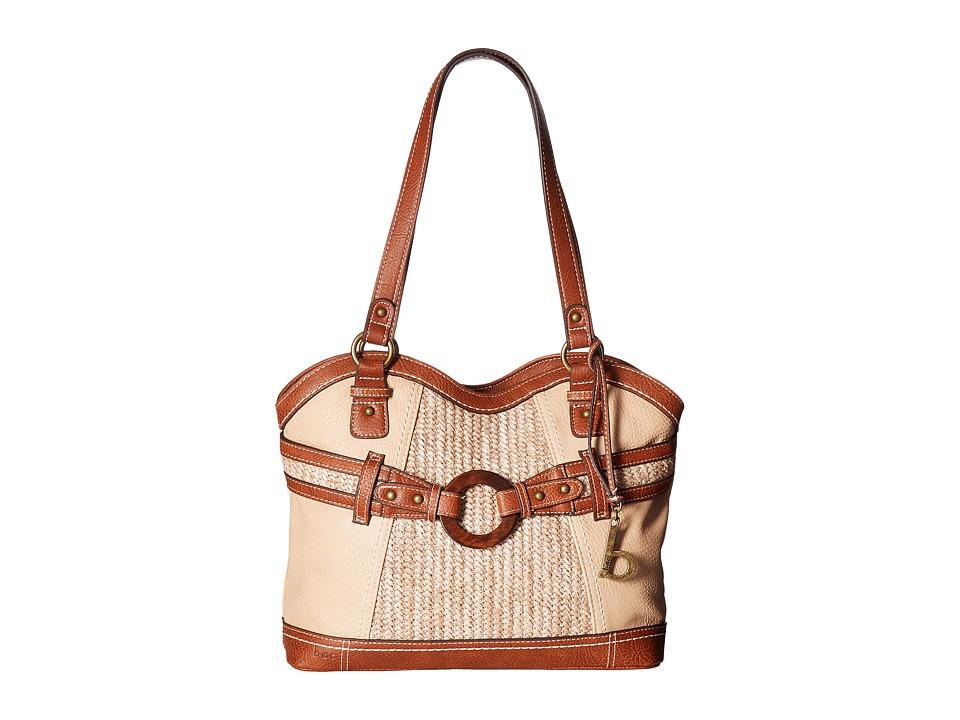 b.o.c. - Nayarit Vinyl/Straw Tote (Stone/Straw/Saddle) Tote Handbags