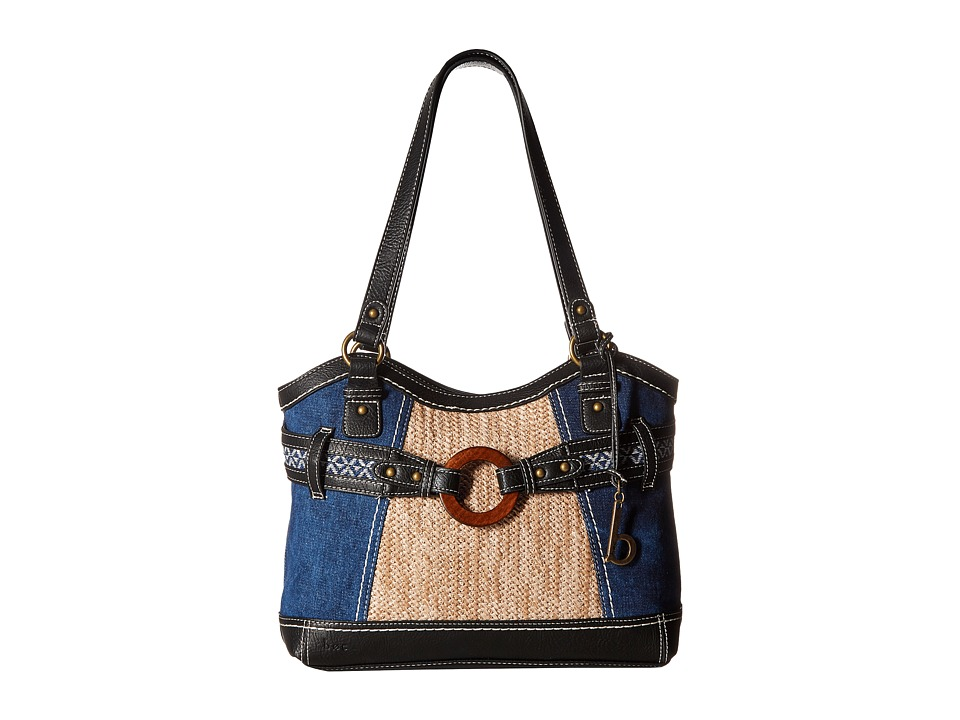 b.o.c. - Nayarit Denim Tribal Tote (Denim/Straw/Black) Tote Handbags