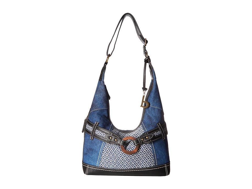 b.o.c. - Nayarit Denim Tribal Hobo (Denim/Tribal/Black) Hobo Handbags
