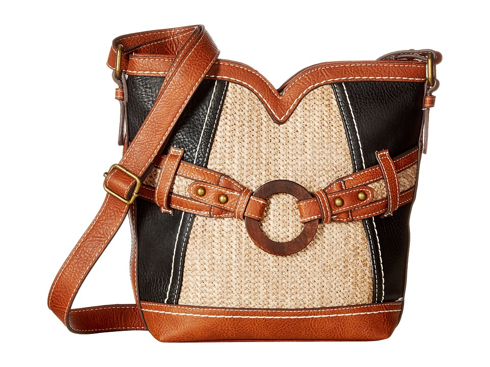 b.o.c. - Nayarit Vinyl/Straw Sweetheart Crossbody (Black/Straw/Saddle) Cross Body Handbags