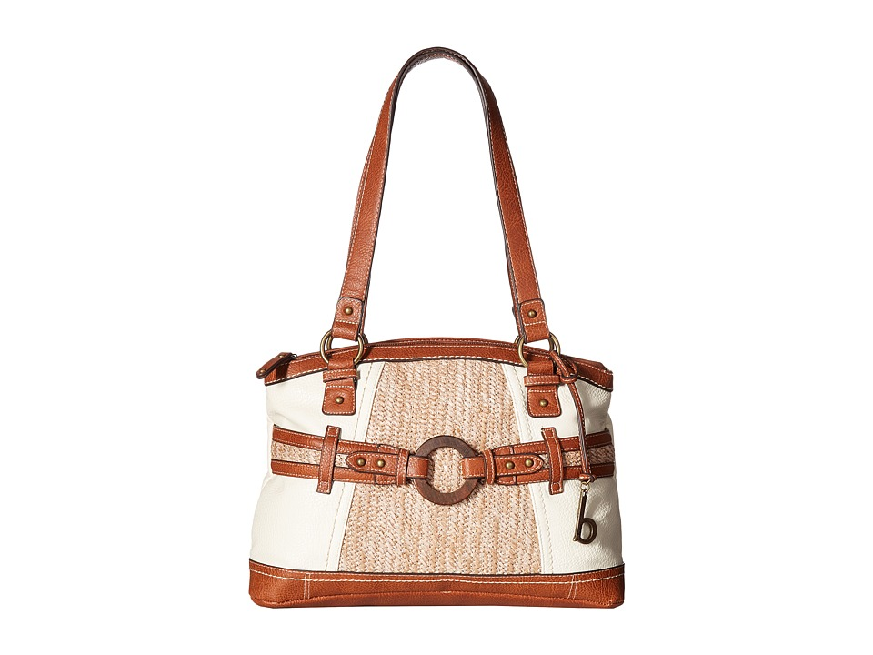 b.o.c. - Nayarit Vinyl/Straw Satchel (Bone/Straw/Saddle) Satchel Handbags