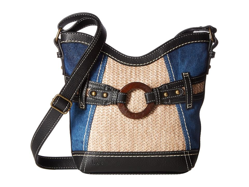 b.o.c. - Nayarit Denim Tribal Crossbody (Denim/Straw/Black) Cross Body Handbags