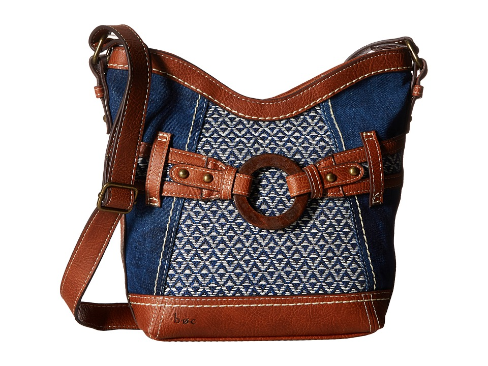 b.o.c. - Nayarit Denim Tribal Crossbody (Denim/Tribal/Saddle) Cross Body Handbags