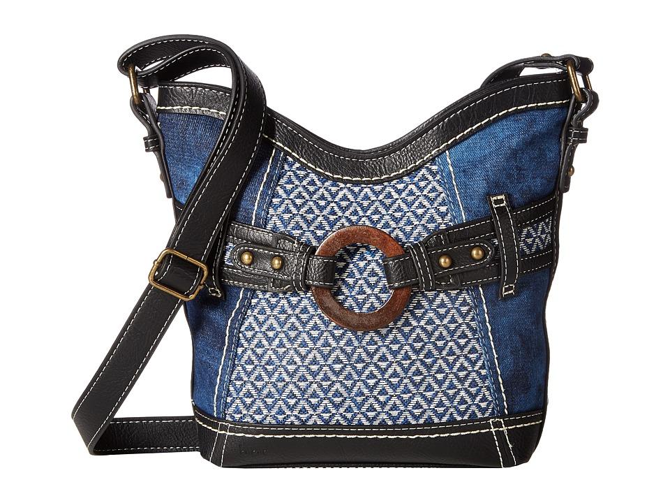 b.o.c. - Nayarit Denim Tribal Crossbody (Denim/Tribal/Black) Cross Body Handbags
