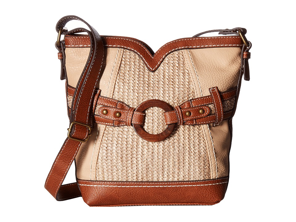 b.o.c. - Nayarit Vinyl/Straw Sweetheart Crossbody (Stone/Straw/Saddle) Cross Body Handbags