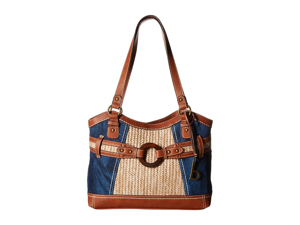 b.o.c. - Nayarit Denim Tribal Tote (Denim/Straw/Saddle) Tote Handbags
