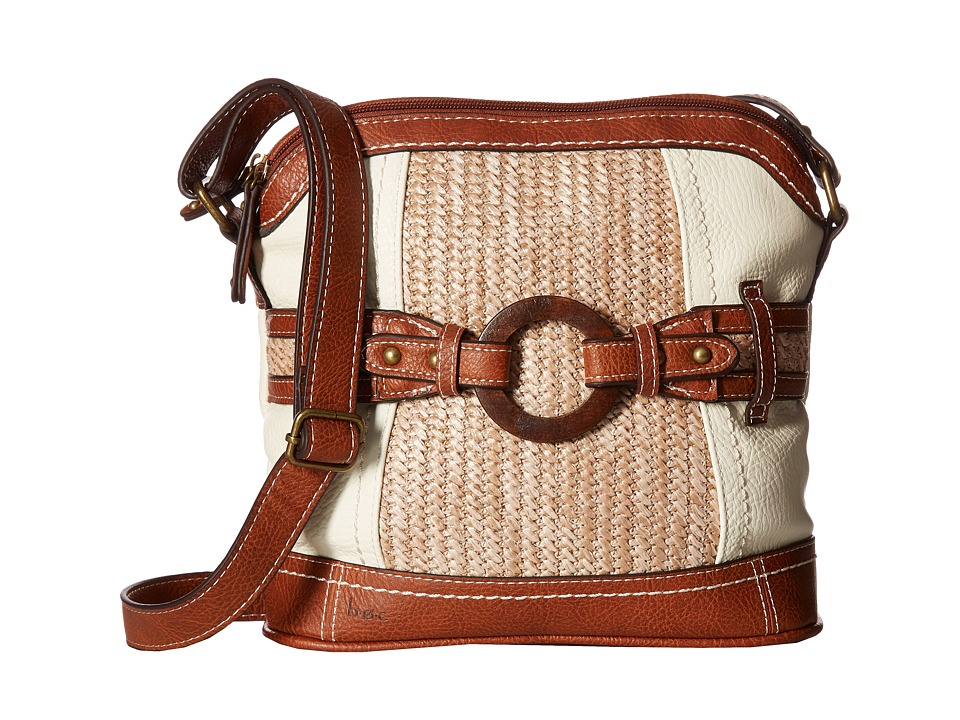b.o.c. - Nayarit Vinyl/Straw Dome Crossbody (Bone/Straw/Saddle) Cross Body Handbags