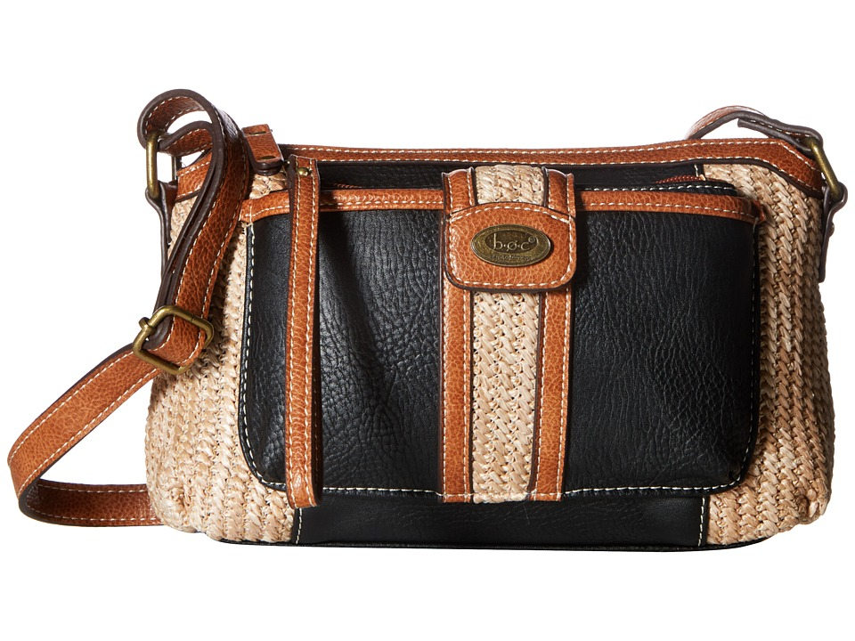 b.o.c. - Tylerville Merrimac Crossbody (Black/Straw/Saddle) Cross Body Handbags