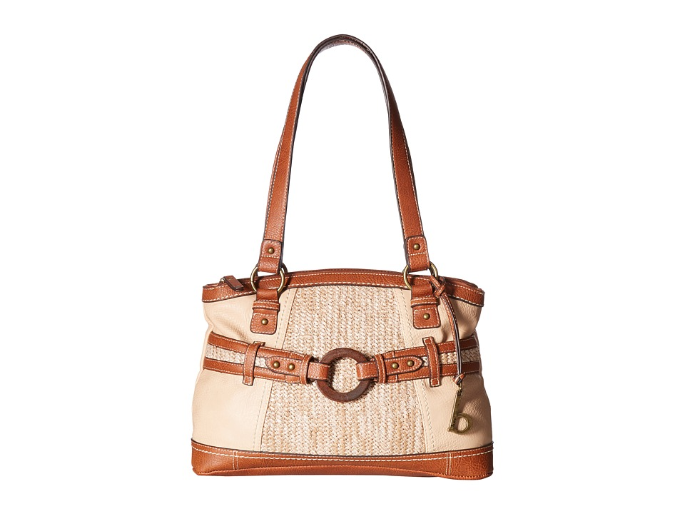 b.o.c. - Nayarit Vinyl/Straw Satchel (Stone/Straw/Saddle) Satchel Handbags