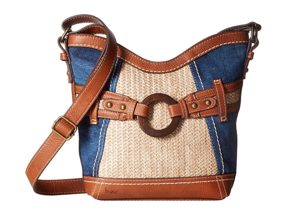 b.o.c. - Nayarit Denim Tribal Crossbody (Denim/Straw/Saddle) Cross Body Handbags