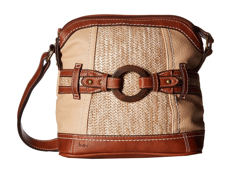 b.o.c. - Nayarit Vinyl/Straw Dome Crossbody (Stone/Straw/Saddle) Cross Body Handbags