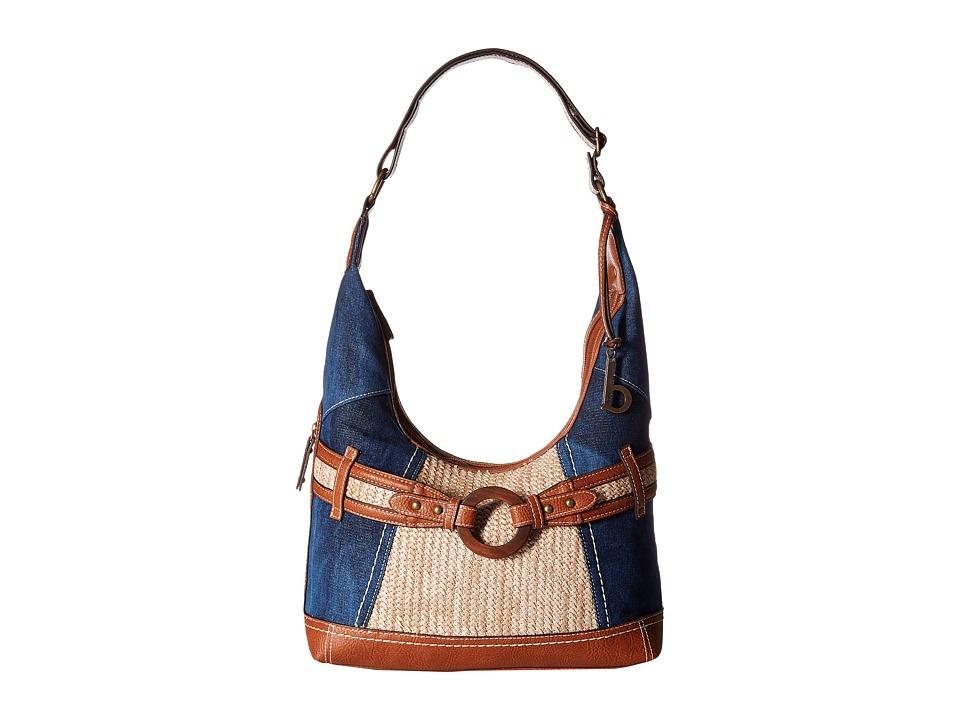 b.o.c. - Nayarit Denim Tribal Hobo (Denim/Straw/Saddle) Hobo Handbags