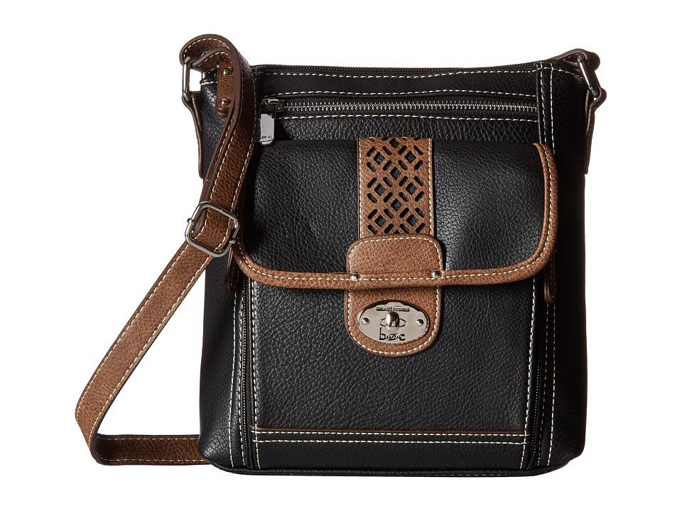 b.o.c. - Mannerton Organizer Crossbody (Black/Choco/Saddle) Cross Body Handbags