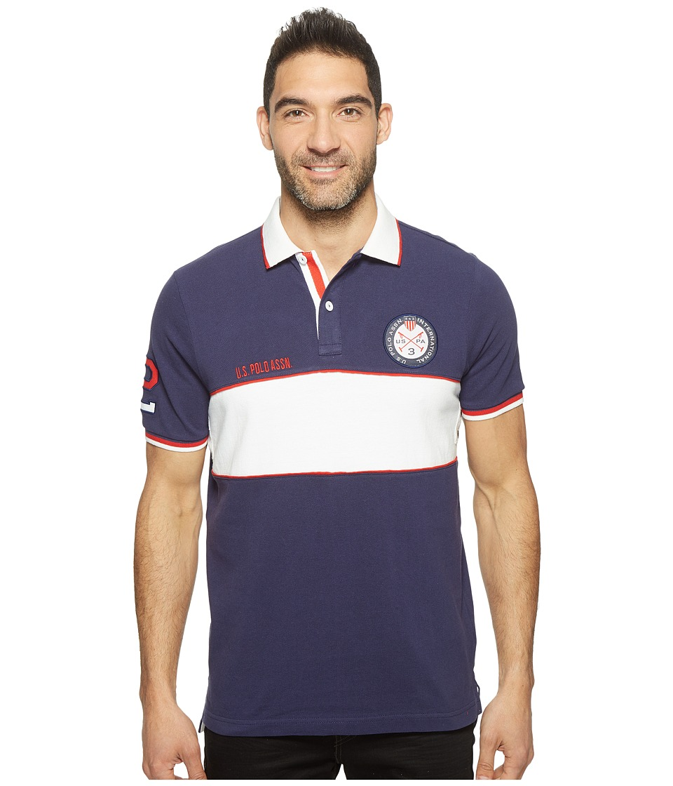 U.S. POLO ASSN. - Short Sleeve Color Blocked Classic Fit Polo Shirt (Classic Navy) Men's T Shirt