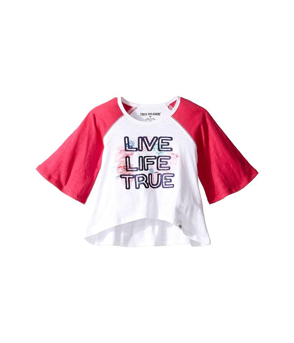 True Religion Kids - Drape Baseball Tee (Toddler/Little Kids) (White) Girl's T Shirt