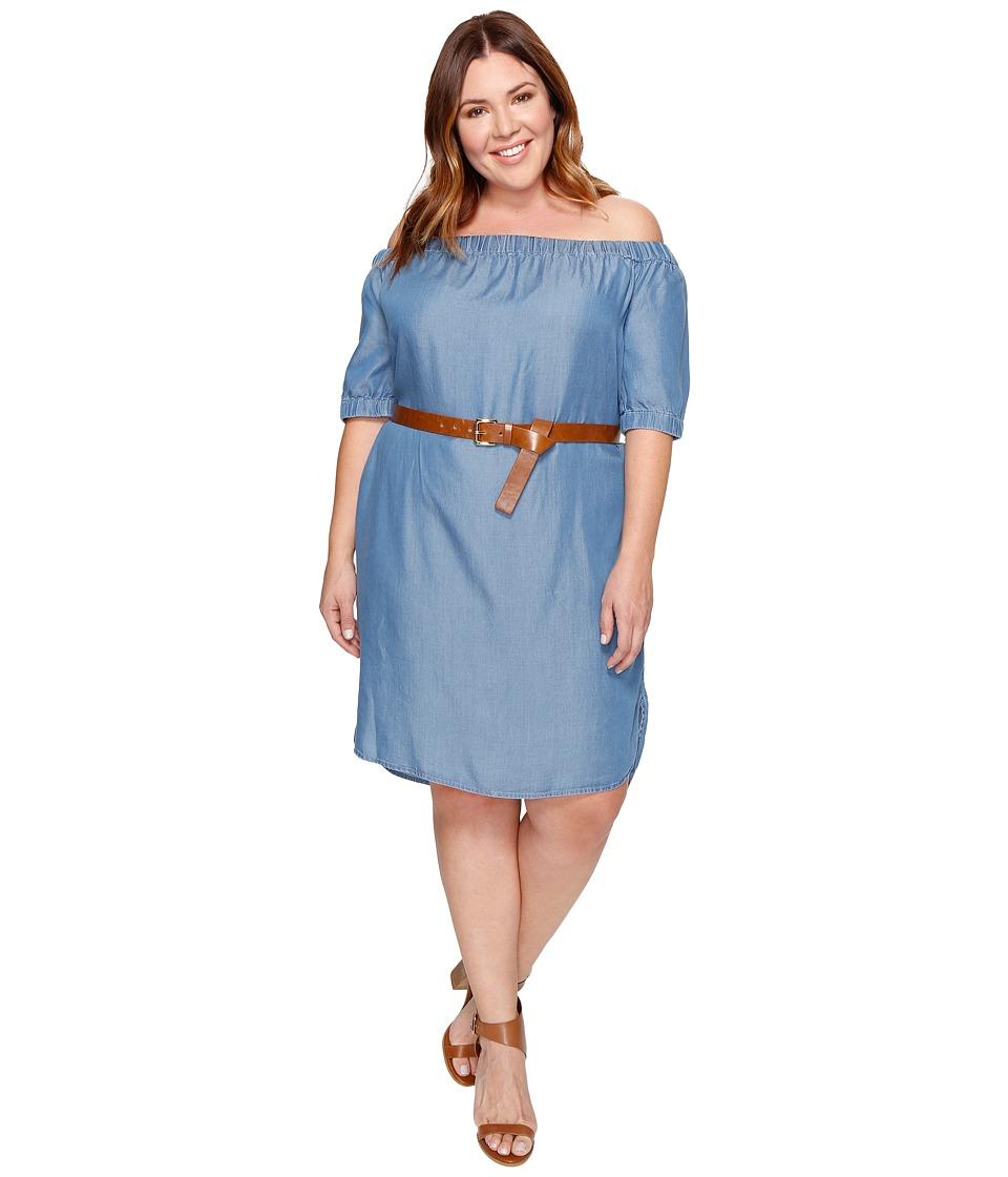 MICHAEL Michael Kors Plus Size Denim Off Shoulder Sleeveless Dress