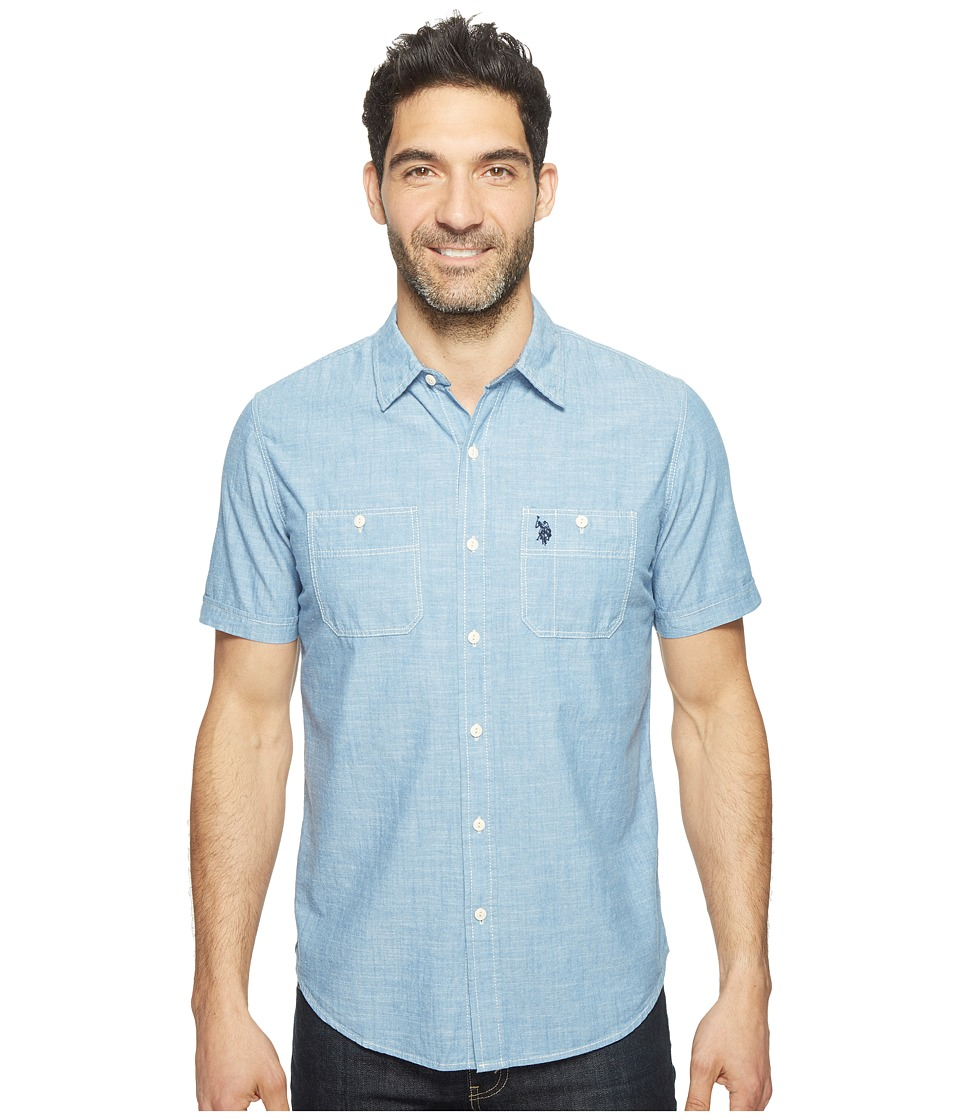 U.S. POLO ASSN. - Solid Short Sleeve Slim Fit Two-Pocket Sport Shirt (Pale Blue) Men's T Shirt