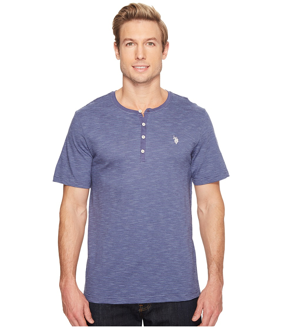 U.S. POLO ASSN. - Solid Short Sleeve Henley Classic Fit T-Shirt (Pigment Blue) Men's T Shirt