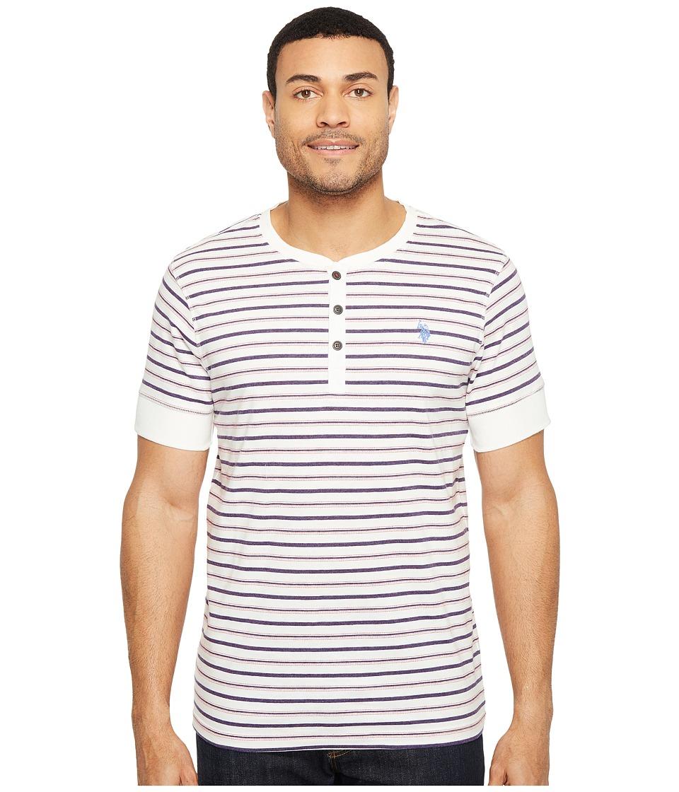 U.S. POLO ASSN. - Striped Short Sleeve Henley Classic Fit T-Shirt (White Winter) Men's T Shirt