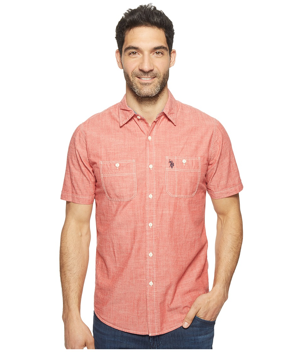 U.S. POLO ASSN. - Solid Short Sleeve Slim Fit Two-Pocket Sport Shirt (Red Canvas) Men's T Shirt