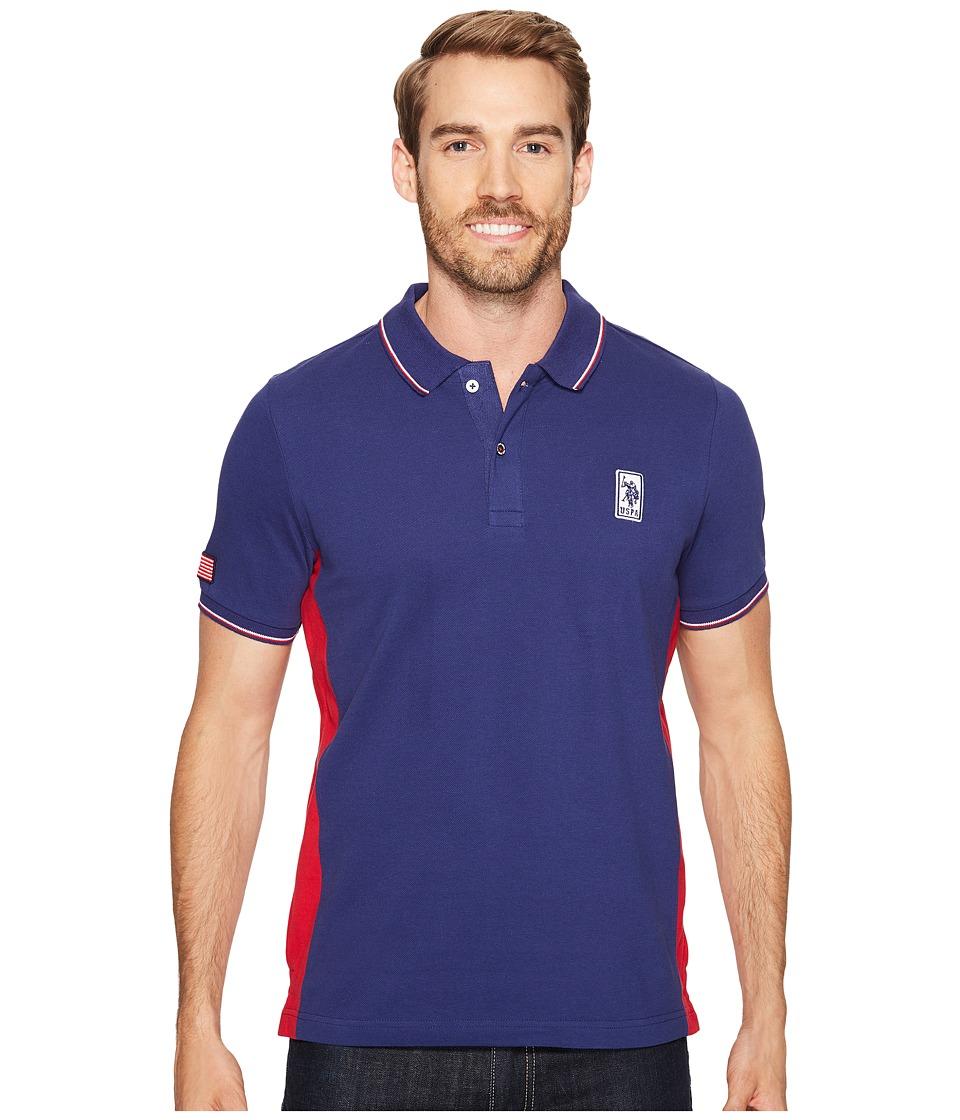 U.S. POLO ASSN. - Solid Short Sleeve Classic Fit Pique Polo Shirt (Marina Blue) Men's T Shirt