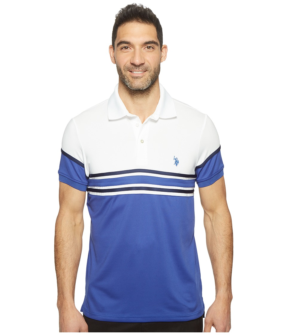 U.S. POLO ASSN. - Striped Short Sleeve Classic Fit Interlock Polo Shirt (Blue Raft) Men's T Shirt