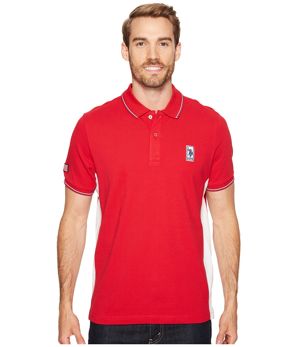 U.S. POLO ASSN. - Solid Short Sleeve Classic Fit Pique Polo Shirt (Winning Red) Men's T Shirt