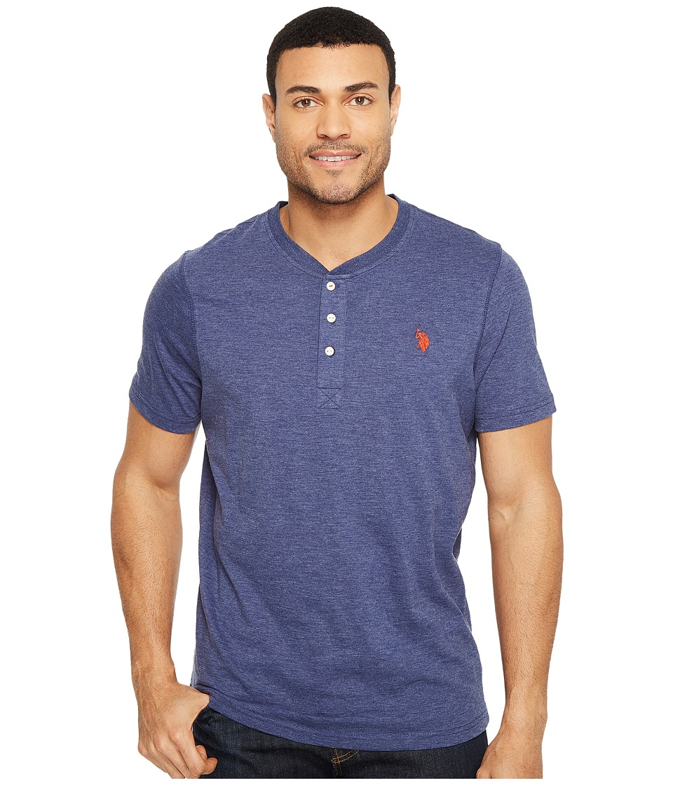 U.S. POLO ASSN. - Solid Short Sleeve Henley Slim Fit T-Shirt (Dodger Blue Heather) Men's T Shirt