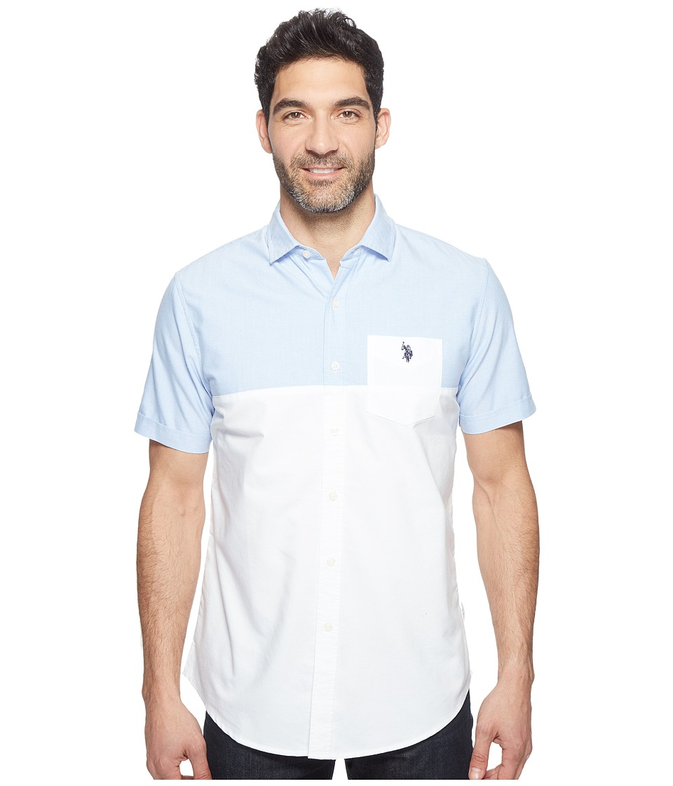 U.S. POLO ASSN. - Short Sleeve Classic Fit Color Block Sport Shirt (Optic White) Men's T Shirt