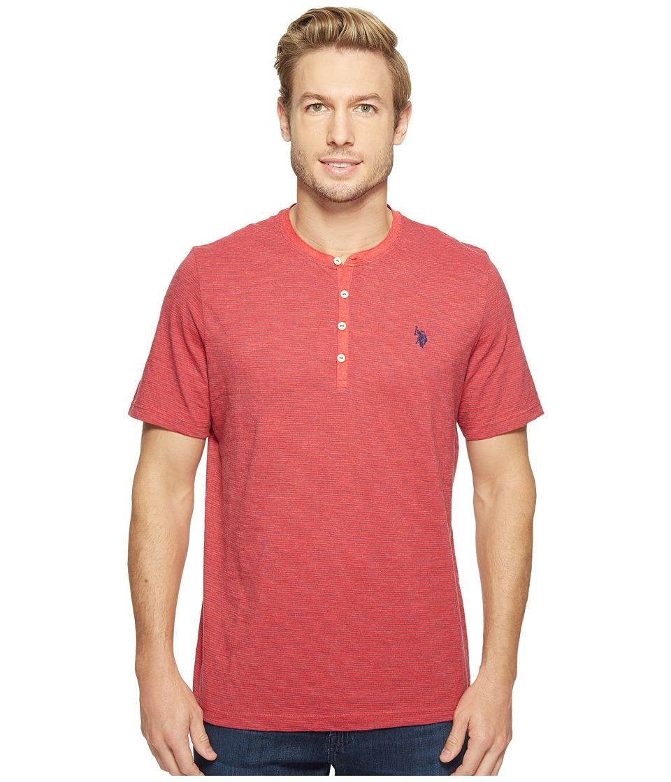 U.S. POLO ASSN. - Solid Short Sleeve Henley Classic Fit T-Shirt (Nantucket Red Heather) Men's T Shirt