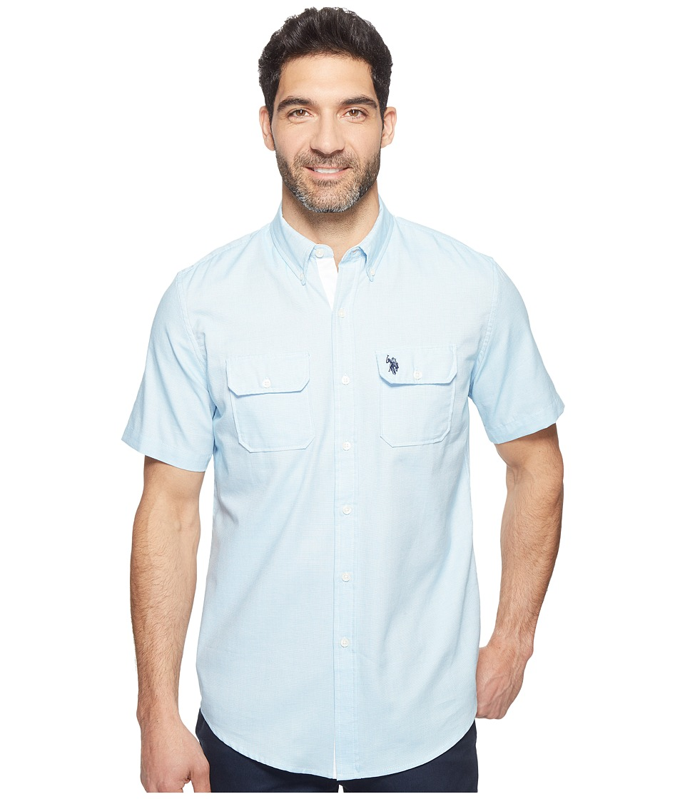 U.S. POLO ASSN. - Two-Pocket Classic Fit Stripe, Plaid or Print Sport Shirt (Flip-Flop Blue) Men's T Shirt