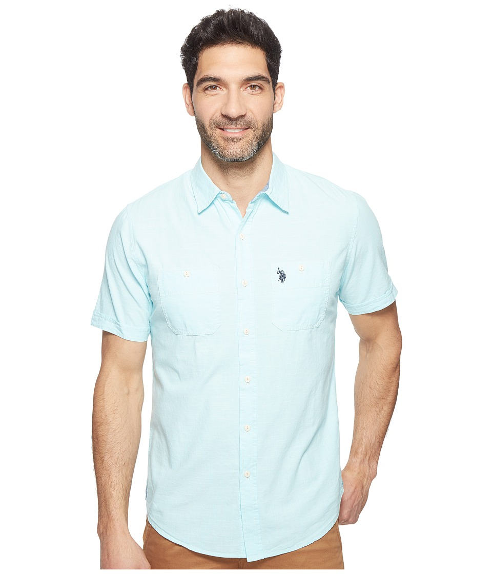 U.S. POLO ASSN. - Solid Short Sleeve Slim Fit Two-Pocket Sport Shirt (Spring Water) Men's T Shirt
