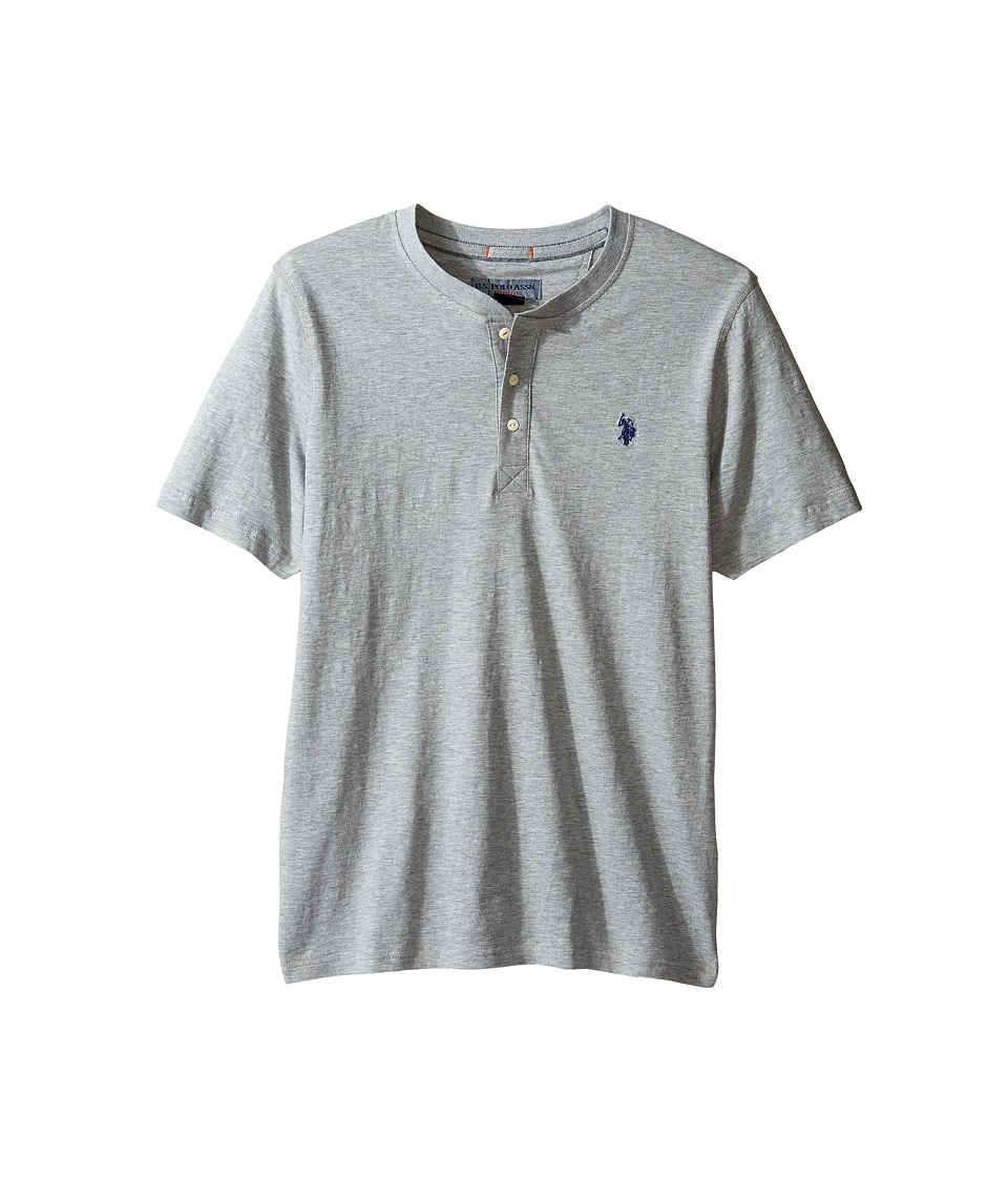 U.S. POLO ASSN. - Solid Short Sleeve Henley Slim Fit T-Shirt (Heather Grey) Men's T Shirt