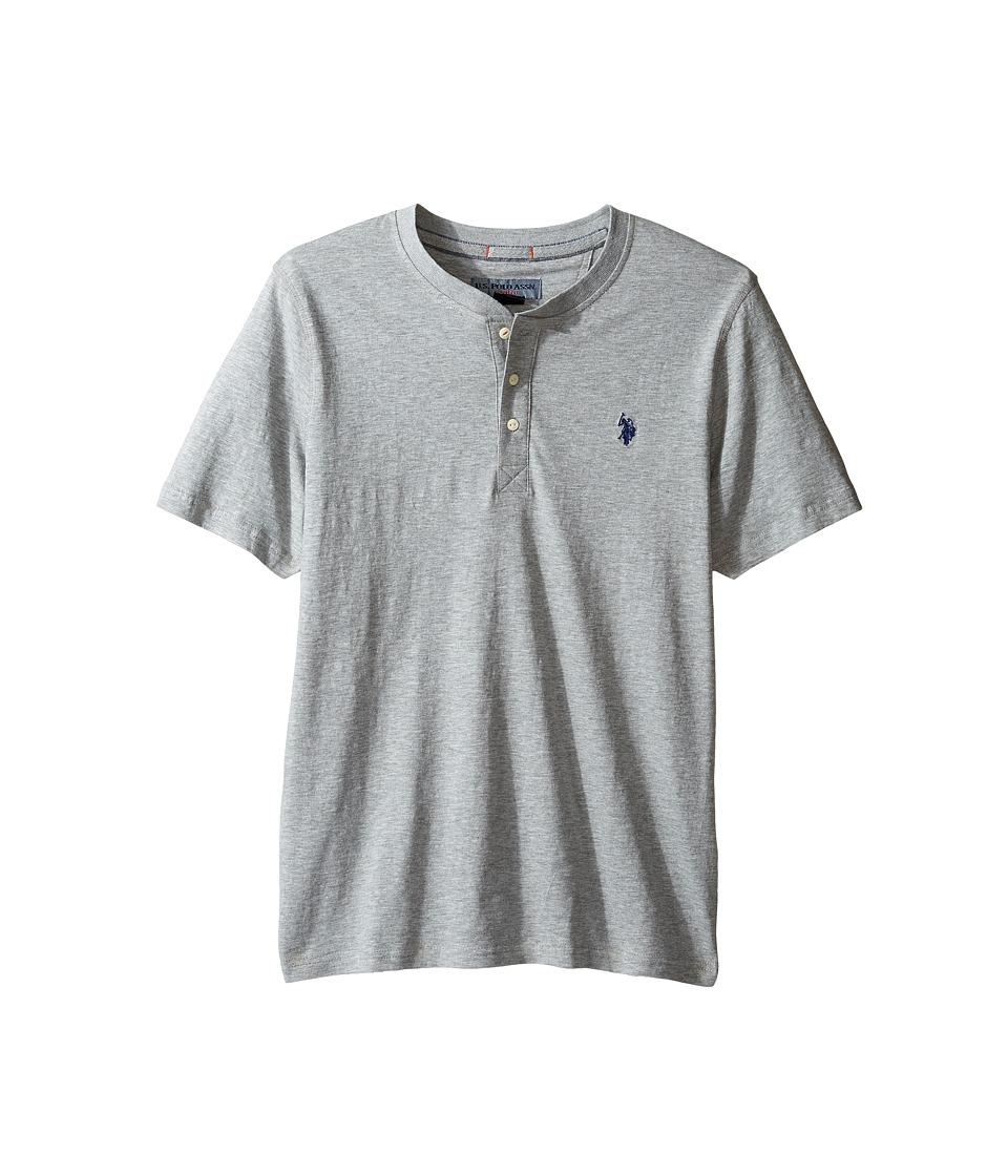 U.S. POLO ASSN. - Solid Short Sleeve Henley Slim Fit T-Shirt (Heather Grey) Men's T Shirt